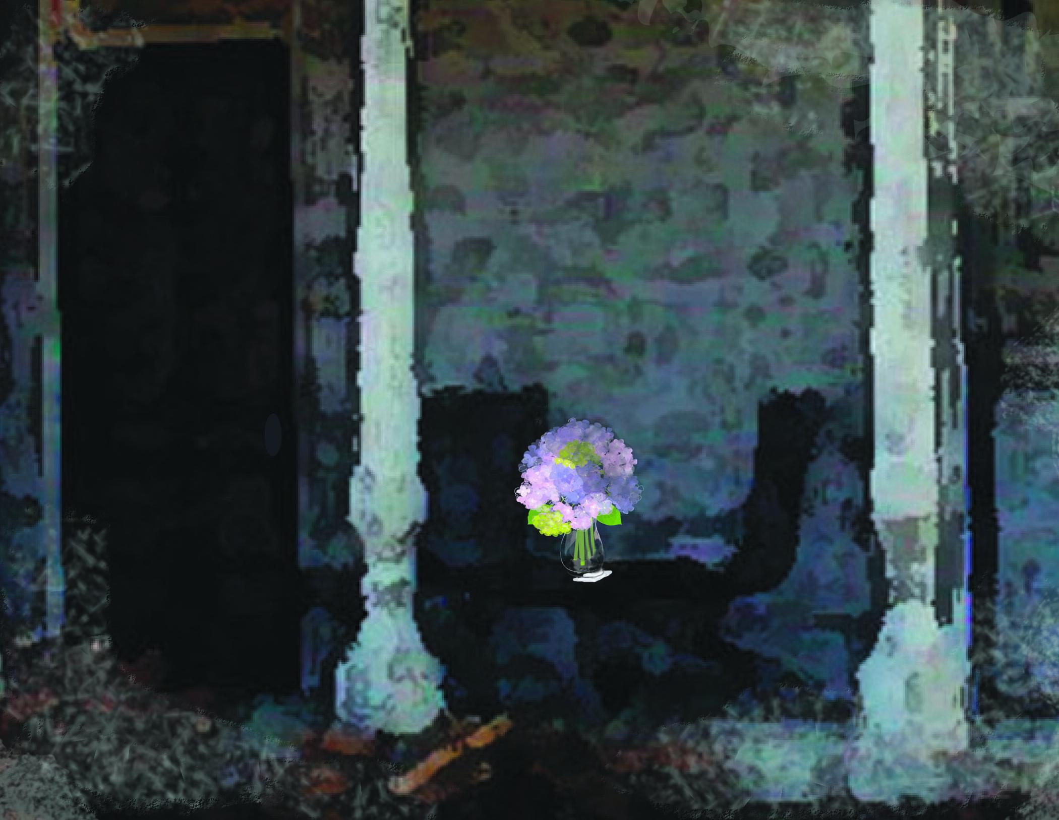 Hydrangeas on Porch illustration by Linda Santell